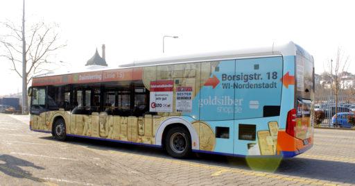 """Werbekampagne """"Goldbus"""" in Wiesbaden"""