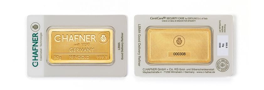 Geprägte Goldbarren von C.HAFNER